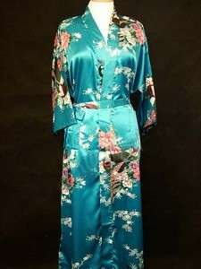 blue black green rose chinese Silk Womens Kimono Robe Gown sz:S M L