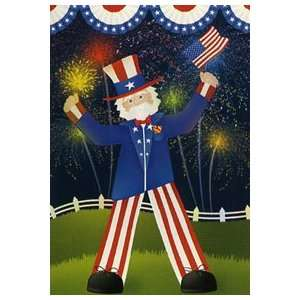 Uncle Sams Big Day Garden Flag 12x18 Patio, Lawn