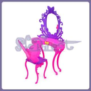 Doll Furniture Dresser Set Dressing TABLE CHAIR Shocking Pink Purple w
