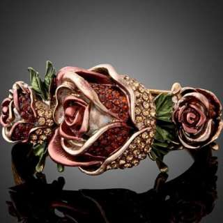 ARINNA Swarovski Crystal Rose Flower Bangle Bracelet