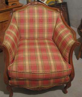 Victorian Arm Chair Ornate Wood Carving   Reupholstered