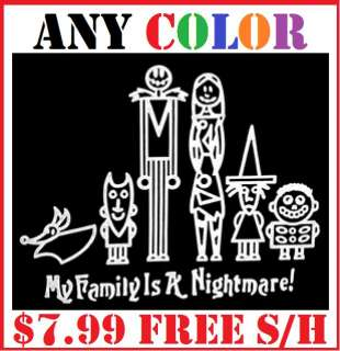 Nightmare Before Christmas Family Window Sticker Decal