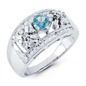 14k White Gold Blue Topaz Round Baguette Diamond Ring Jewelry