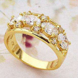 Luxuriant 18K Yellow Gold Filled Womens Zircon Rings R003 6#