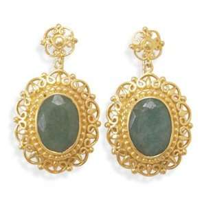 14 Karat Gold Plated Rough Cut Emerald Earrings 925 Sterling Silver