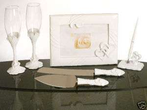 Love Heart Bridal Wedding Set Toasting Glass Guest Book
