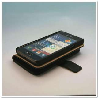 Faux Leather Wallet Case Cover Pouch Card Holder Samsung Galaxy S 2 II