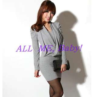 Sexy Gray Shrug woman Clubwear Long sleeve Mini Dress