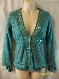 HAZEL teal wool blend & lacy tie cardigan sweater S