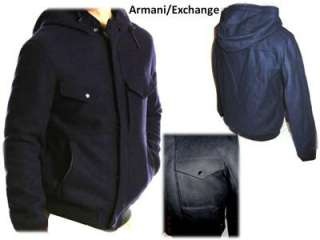 NEW ARMANI EXCHANGE Hooded Midnight Blue Wool Faux Fur Lined Jacket