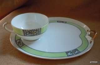 Antique Free Form Snack Set Noritaki Green M Backstamp Cup & Plate