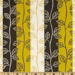 44 Wide Zen Garden Striped Leafs Vine Yellow Fabric By
