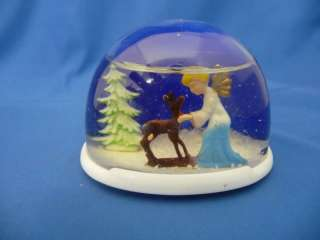 Snow Globe Christmas Angel w/ Deer #50140