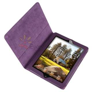 PURPLE LEATHER SMART COVER CASE STAND CASE FOR IPAD 2