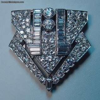 Rare Art Deco 9+ Carats Diamonds Plat Pendant Clip