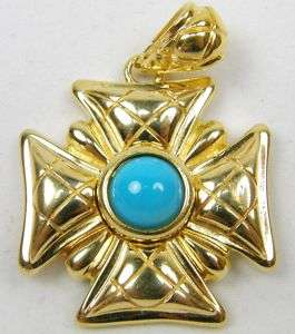 Gold Sterling Silver Turquoise Cross Charm Pendant