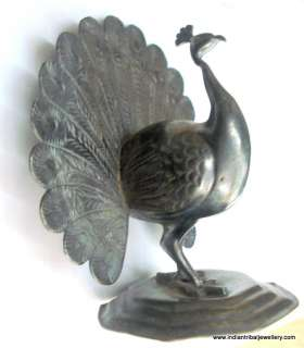 vintage antique old silver peacock bird statue figure