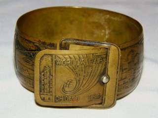 bracelet repoussé artwork 1934 Chicago World Fair attractions souv