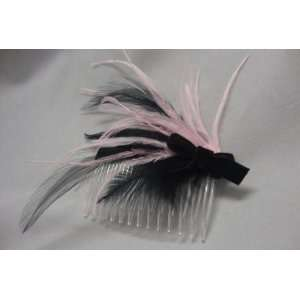 NEW Custom Pink Ostrich Feather Hair Comb with Black