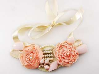 Satin Ribbon Cream Vintage Fabric Pink Rose Faux Pearl Bead Bib Boho