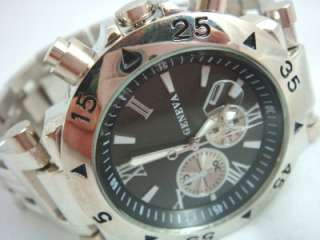 Mens Diver Metal Band Silver Rose Gold Black Date Chronograph Heavy