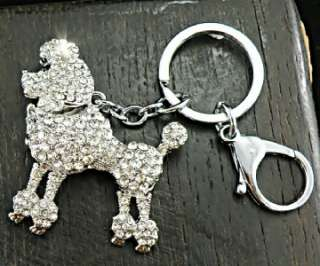 Poodle Puppy Dog with Swarovski Crystals Gold Keychain Purse Charm 47