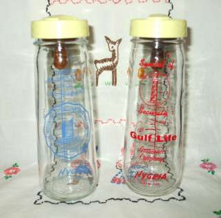 VINTAGE HYGEIA GLASS BABY BOTTLE 8 OZ NURSER OLD WITH GULF LIFE INS