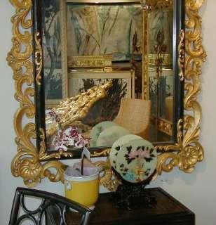 Huge Hand Carved Italian Giltwood & Ebonized Mirror
