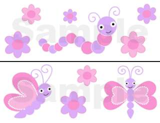 PURPLE PINK BUTTERFLY DRAGONFLY WALL BORDER STICKERS