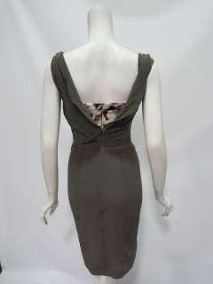 Just Cavalli womens bustier dark brown animal print silk dress 40 $425