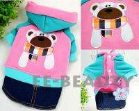 Pet Dog Clothes Teddy Bear Warm Soft Sweater Denim Jeans Dress Outfits