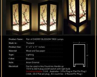 Oriental CHERRY BLOSSOM TREE Bedside Table Lamp Wood Lighting