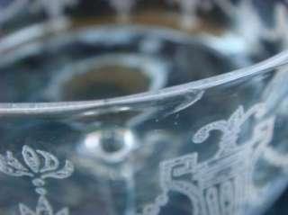 Antique Etched Hand Blown Art Glass Wine Glasses Set