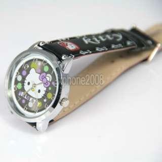 5pcs cute lovely colorful dots Quartz Hellokitty girls gift Wristwatch
