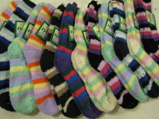 pair warm womens classic FUZZY soft Strip socks 9 11 gift Holiday new