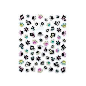 Black Music Notes & Embellished Paw Print Nail Stickers