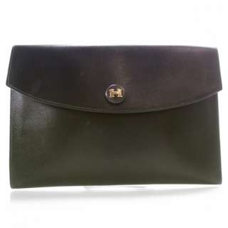 HERMES Box Leather RIO Clutch Bag Pouch Black Retired