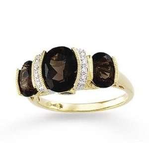 14k Yellow Gold Classy Bezel Oval Smoky Quartz Ring Jewelry