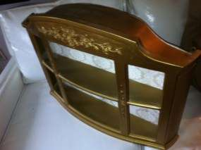 Dart Ornate Hollywood Regency Gold Wall Shelf Curio Cabinet