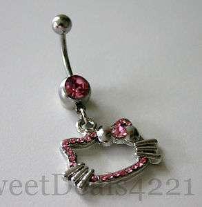 Hello Kitty Navel Naval Belly Rhinestone Ring Dangle Shiny bling cute
