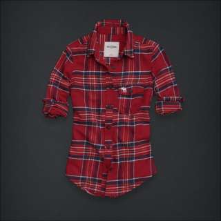 NWT Abercrombie Kids Girls XL Chloe Red Plaid Shirt Top