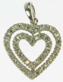 LADIES 14K WHITE GOLD DIAMOND CLUSTER HEART PENDANT 152669
