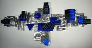 Modern Abstract Metal Wall Art Decor Sculpture Silver Blue AviatorBy