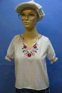 Embroidered Womens HUNGARIAN Gentle Folk Ethnic Blouse Costume Shirt