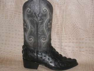 New Mens Embossed Croc/Ostrich Leather Boots Black