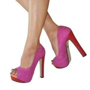 Multi Color Suede Peep Toe Sky High Platform Chunky Heel Sandal
