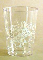 10 OUNCE PLASTIC WEDDING GLASSES W/BELL DESIGN 125 CUPS