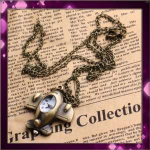 white aircraft shape copper metal Ladies Mens Pocket Watch&chainW0420