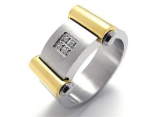 Mens Silver Gold Stainless Steel Ring Size 9 #U19998