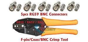 pin/Coax/BNC Crimp Tool for RG58 / RG59 / RG6 Plus 5pcs BNC Crimp on